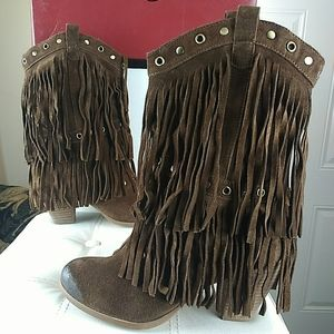 Naughty monkey Brown suede leather Fringe boots